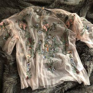 Sheer floral top!